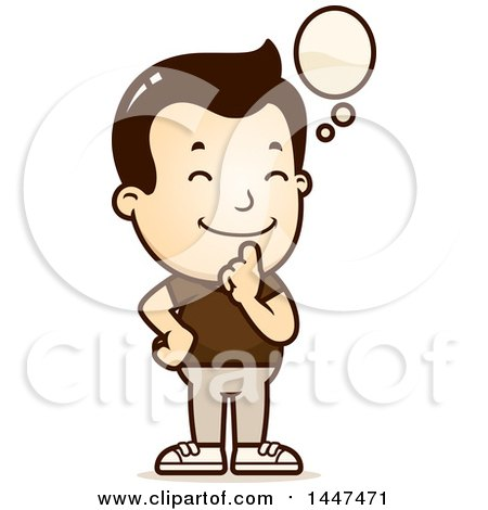 Clipart of a Retro White Boy Thinking - Royalty Free Vector Illustration by Cory Thoman