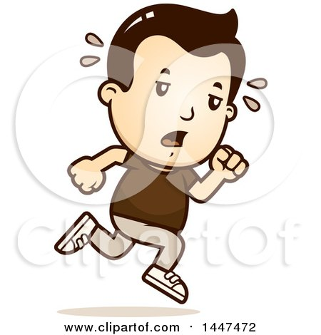 Clipart of a Retro Tired White Boy Running - Royalty Free Vector Illustration by Cory Thoman