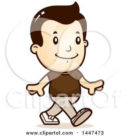 Clipart of a Retro White Boy Walking - Royalty Free Vector Illustration by Cory Thoman