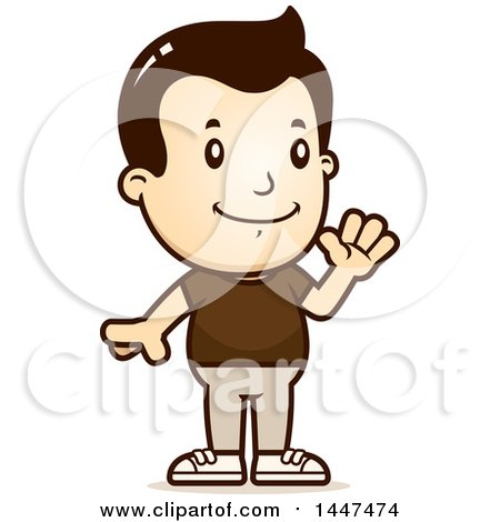 Clipart of a Retro White Boy Waving - Royalty Free Vector Illustration by Cory Thoman