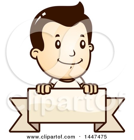 Clipart of a Retro Caucasian White Boy Smiling over a Blank Ribbon Banner - Royalty Free Vector Illustration by Cory Thoman