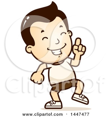 Clipart of a Retro White Boy in Shorts, Doing a Happy Dance - Royalty Free Vector Illustration by Cory Thoman