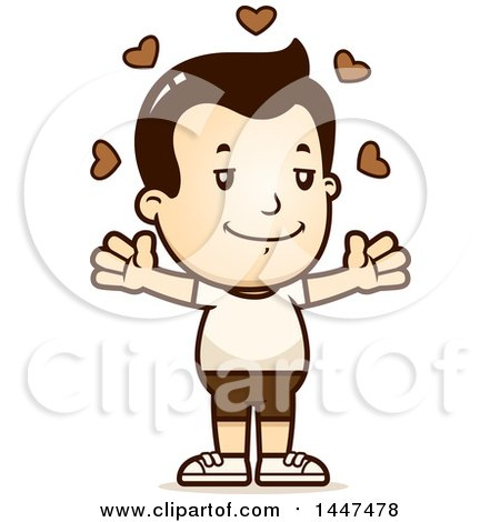 Clipart of a Retro White Boy in Shorts with Open Arms and Love Hearts - Royalty Free Vector Illustration by Cory Thoman