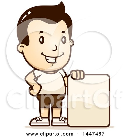 Clipart of a Retro White Boy in Shorts, with a Blank Sign - Royalty Free Vector Illustration by Cory Thoman