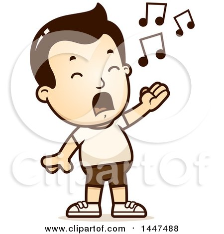 Clipart of a Retro Singing White Boy in Shorts - Royalty Free Vector Illustration by Cory Thoman