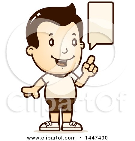 Clipart of a Retro Talking White Boy in Shorts - Royalty Free Vector Illustration by Cory Thoman