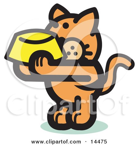 Hungry Orange Cat Holding Up A Yellow Food Dish, Waiting To Be Fed  Posters, Art Prints
