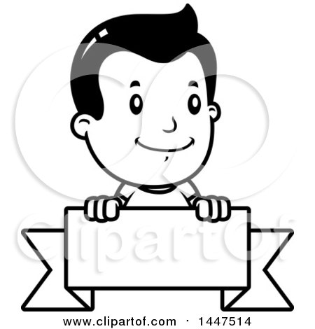 Clipart of a Retro Black and White Black and White Boy Smiling over a Blank Ribbon Banner - Royalty Free Vector Illustration by Cory Thoman