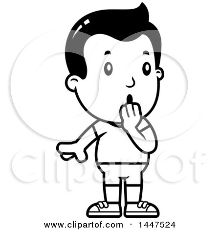 Clipart of a Retro Black and White Surprised Gasping Boy in Shorts - Royalty Free Vector Illustration by Cory Thoman