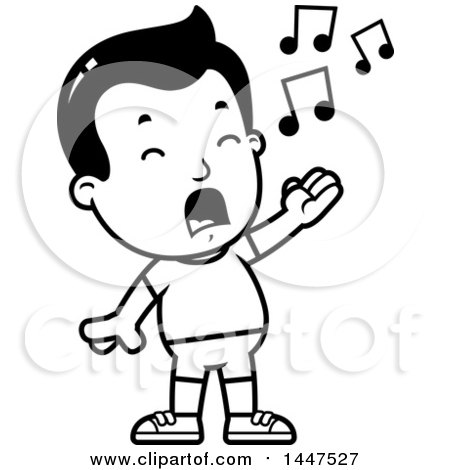 Clipart of a Retro Black and White Singing Boy in Shorts ...