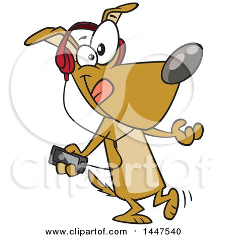 Clipart of a Cartoon Dog Dancing and Listening to Music with an MP3 Player - Royalty Free Vector Illustration by toonaday