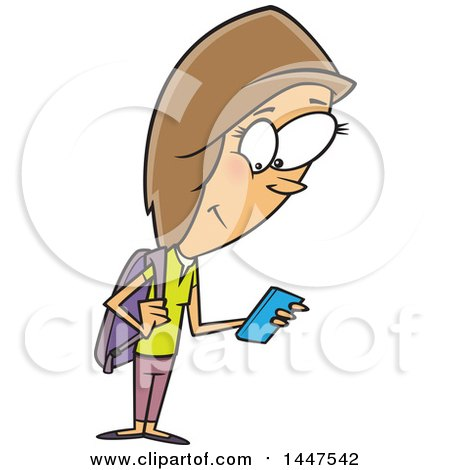 Clipart Of A Cartoon Caucasian Teenage School Girl Using A Smart Phone Royalty Free Vector Illustration