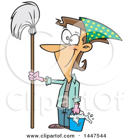 Cartoon Happy Caucasian Woman Ready for Spring Cleaning, Holding a Mop and Bucket Posters, Art Prints