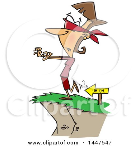 Clipart Of A Cartoon Blindfolded Caucasian Woman Heading To A Cliffs Edge Royalty Free Vector Illustration