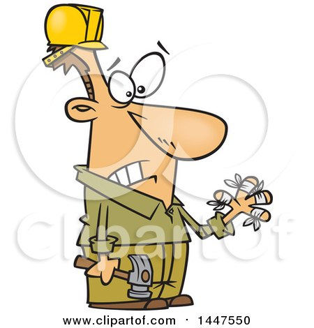 Clipart of a Cartoon Clumsy White Male Carpenter Holding a Hammer and Looking at His Injured Fingers, All Thumbs - Royalty Free Vector Illustration by toonaday