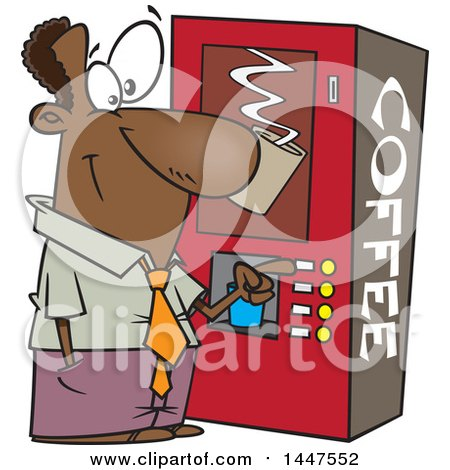 Clipart of a Cartoon African American Business Man Using a Coffee Machine at Break Time - Royalty Free Vector Illustration by toonaday