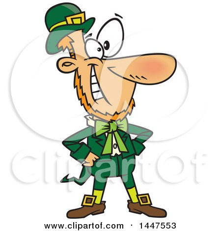 Clipart of a Cartoon Confident St Patricks Day Leprechaun Grinning and Standing with Hands on His Hips - Royalty Free Vector Illustration by toonaday