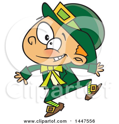Clipart of a Cartoon Energetic St Patricks Day Leprechaun Boy Jumping - Royalty Free Vector Illustration by Ron Leishman