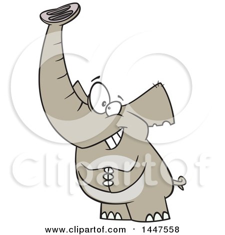 Clipart of a Cartoon Grinning Lucky Elephant - Royalty Free Vector Illustration by toonaday