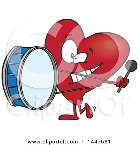 Clipart Of A Cartoon Heart Mascot Character Playing A Drum Heartbeat Royalty Free Vector Illustration