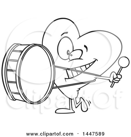 Clipart of a Cartoon Black and White Lineart Heart Mascot Character Playing a Drum, Heartbeat - Royalty Free Vector Illustration by toonaday