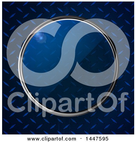 Clipart of a Metallic Framed Glass Lense over a Metal Diamond Plate Texture - Royalty Free Vector Illustration by elaineitalia