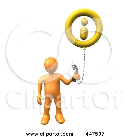 Clipart of a 3d Orange Man Holding a Telephone Connected to an Information Balloon, on a White Background - Royalty Free Illustration by 3poD