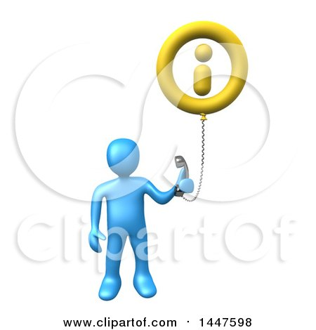 Clipart of a 3d Blue Man Holding a Telephone Connected to an Information Balloon, on a White Background - Royalty Free Illustration by 3poD