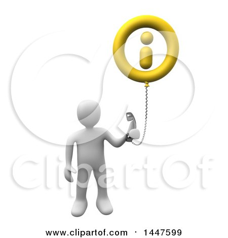 Clipart of a 3d White Man Holding a Telephone Connected to an Information Balloon, on a White Background - Royalty Free Illustration by 3poD