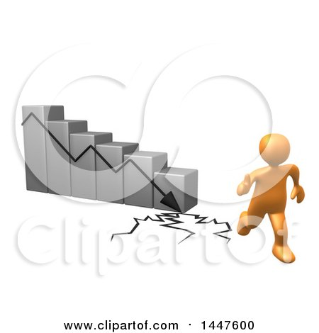 Clipart of a 3d Orange Man Running Away from a Collapsing Bar Graph, on a White Background - Royalty Free Illustration by 3poD