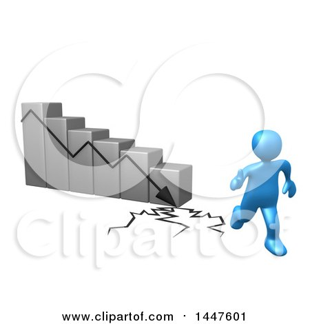 Clipart of a 3d Blue Man Running Away from a Collapsing Bar Graph, on a White Background - Royalty Free Illustration by 3poD