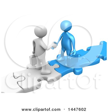 Clipart of 3d White and Blue Business Men Standing on Connected Jigsaw Puzzle Pieces and Shaking Hands, on a White Background - Royalty Free Illustration by 3poD