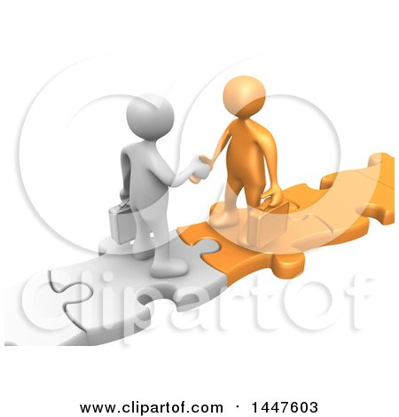Clipart of 3d White and Orange Business Men Standing on Connected Jigsaw Puzzle Pieces and Shaking Hands, on a White Background - Royalty Free Illustration by 3poD
