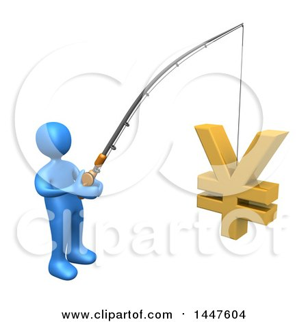 Clipart of a 3d Blue Man Holding a Fishing Pole with a Yen Symbol As Bait, on a White Background - Royalty Free Illustration by 3poD