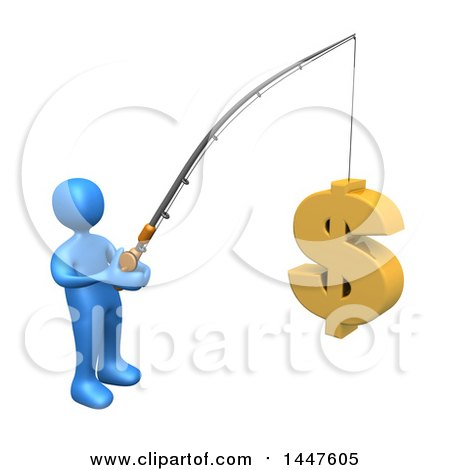 Clipart of a 3d Blue Man Holding a Fishing Pole with a USD Dollar Symbol As Bait, on a White Background - Royalty Free Illustration by 3poD