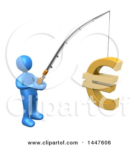 Clipart of a 3d Blue Man Holding a Fishing Pole with a Euro Symbol As Bait, on a White Background - Royalty Free Illustration by 3poD