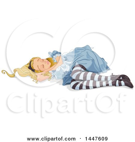 Clipart of Alice in Wonderland Sleeping on the Ground - Royalty Free Vector Illustration by Pushkin