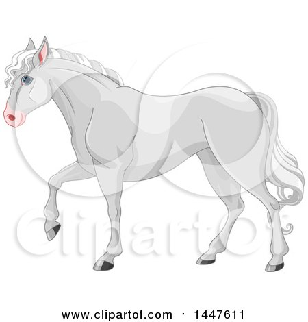 Clipart of a Cute Gray Horse Walking in Profile - Royalty Free Vector Illustration by Pushkin