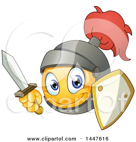 Clipart of a Yellow Cartoon Emoji Emoticon Knight Smiley Face with a Sword and Shield - Royalty Free Vector Illustration by yayayoyo