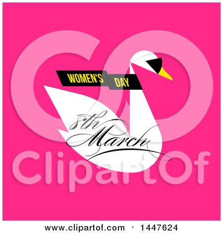 Clipart of a Womens Day March 8th Swan Wearing Sunglasses Design on Pink - Royalty Free Vector Illustration by elena
