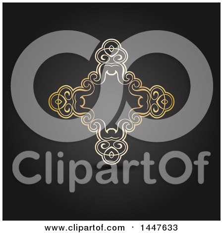 Clipart of a Fancy Golden Cross Shaped Frame on Dark Gray - Royalty Free Vector Illustration by KJ Pargeter