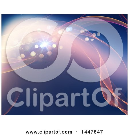 Clipart of a Background of Magical Waves and Flares - Royalty Free Illustration by KJ Pargeter