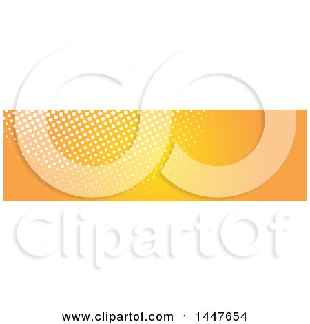 Clipart of a White and Orange Halftone Dot Website Header - Royalty Free Vector Illustration by KJ Pargeter