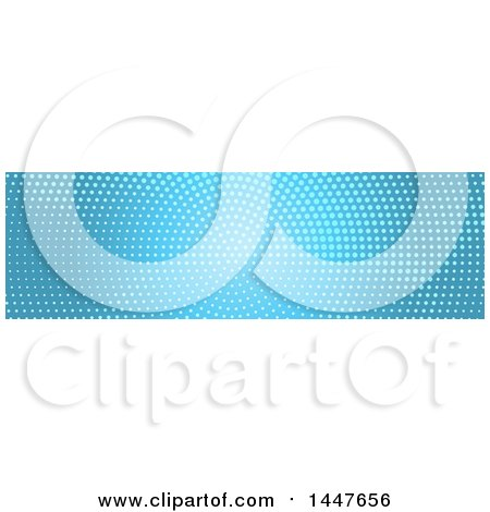 Clipart of a White and Blue Halftone Dot Website Header - Royalty Free Vector Illustration by KJ Pargeter