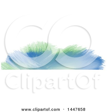 Clipart of a Green and Blue Watercolor Paint on White Website Header - Royalty Free Vector Illustration by KJ Pargeter