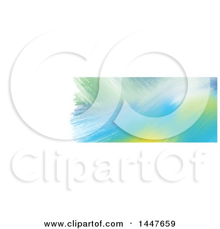 Clipart of a Green Yellow and Blue Watercolor Paint on White Website Header - Royalty Free Vector Illustration by KJ Pargeter