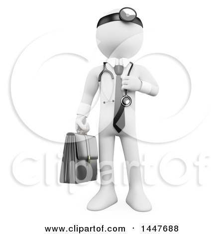 Clipart of a 3d White Man Doctor, on a White Background - Royalty Free Illustration by Texelart