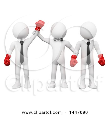 Clipart of a 3d White Business Man Boxer Winning a Fight Against His Opponent, on a White Background - Royalty Free Illustration by Texelart