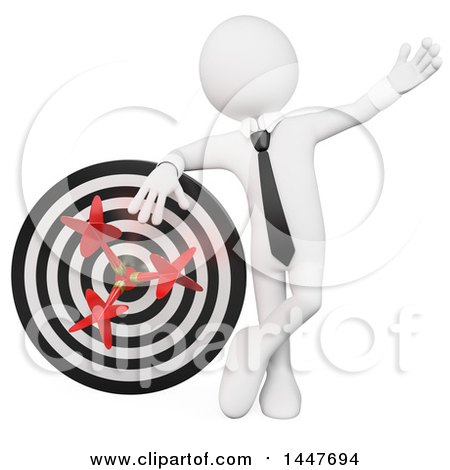 Clipart of a 3d White Business Man Leaning on a Dart Board, on a White Background - Royalty Free Illustration by Texelart