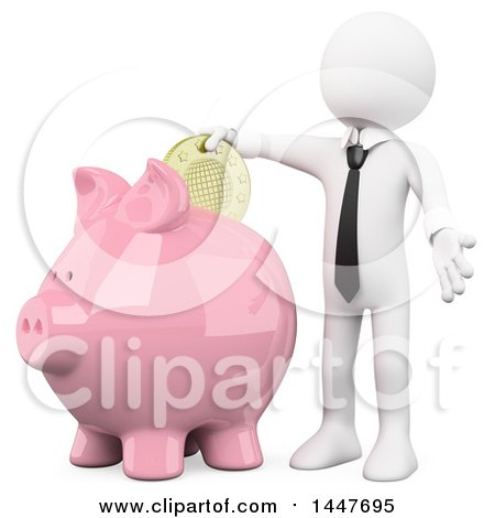 Clipart of a 3d White Business Man Putting a Coin in a Piggy Bank, on a White Background - Royalty Free Illustration by Texelart